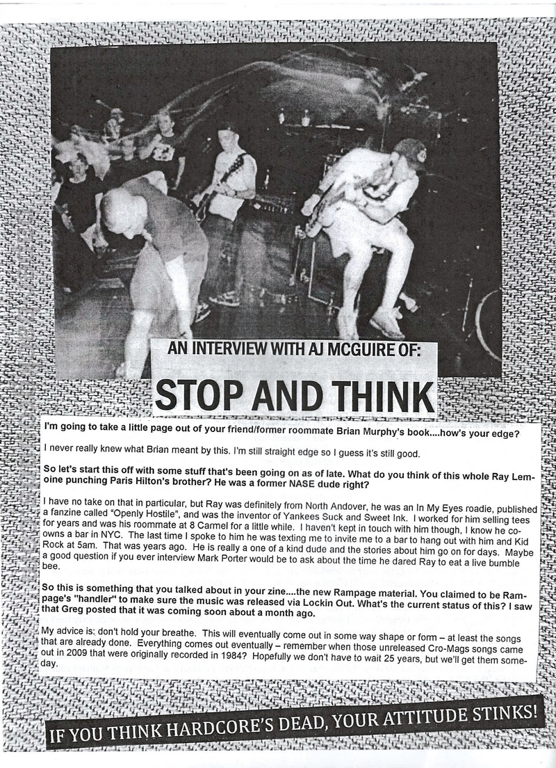 stop and think interview by quick to judge fanzine do you know
