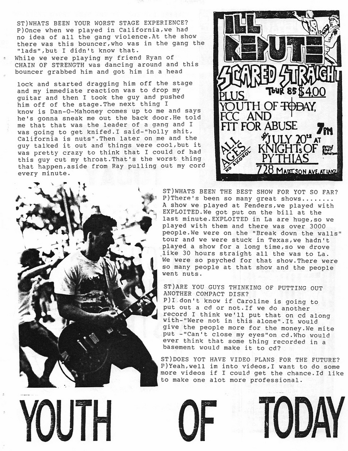 youth of today interview by stop and think fanzine do you know