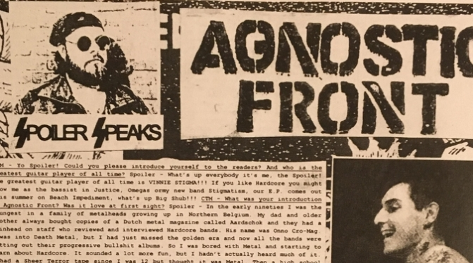 An in-depth analysis of the history of Agnostic Front, interview with Spoiler / Part I.